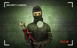 Burglar in action. Royalty Free Stock Photo