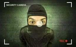 Burglar in action. Royalty Free Stock Photos