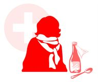 Caught a cold person. Silhouette of the caught a cold person in a scarf with mixture and the spoon on a background of a red cross Stock Image