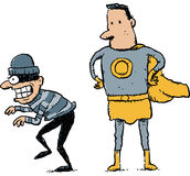 Caught Criminal. A cartoon superhero prepares to catch an unaware, cartoon criminal Stock Photo