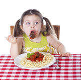 Caught eating a meatball Stock Images