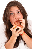 Caught eating pizza Stock Images
