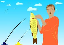 The caught fish. Great take. Catching of a carp. Summer fishing Royalty Free Stock Images