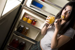 Woman Caught Munching Fruit Food Midnight Royalty Free Stock Image