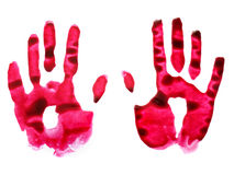 Caught red-handed. Two red handprints on white background Royalty Free Stock Image