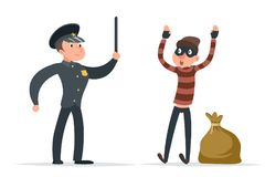 Caught thief surrender loot policeman character cartoon design vector illustration Stock Photos