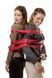 Caught up in red tape Royalty Free Stock Photo