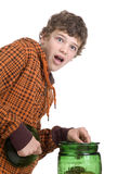 Caught ya!. Teen boy with a surprised look when he's caught pilfering Royalty Free Stock Image