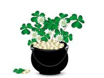 Cauldron. St.Patrick's cauldron with golden money and clover Royalty Free Illustration
