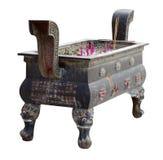 Cauldron. Isolated on white. Burning prayer incense Stock Photos