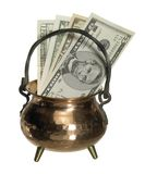 Cauldron and banknotes Stock Image