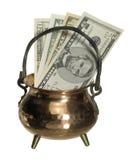 Cauldron and banknotes Stock Image