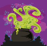 Cauldron with a boiling magic potion. On an abstract background Royalty Free Illustration