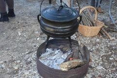 Cauldron,Caldron with hot soup on a christmas market. Zoom on a Cauldron,Caldron with hot soup on a christmas market royalty free stock images