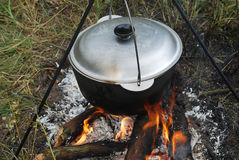 Cauldron on a campfire Royalty Free Stock Photography
