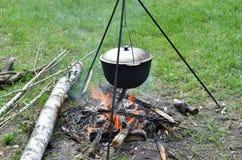 Cauldron on the campfire Stock Photo