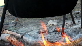 Cauldron on campfire stock video footage