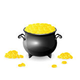 Cauldron with coins. Cauldron with golden coins on white background, illustration Royalty Free Illustration