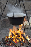 Cauldron on fire Royalty Free Stock Photos