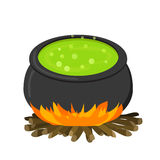 Cauldron on fire in flat style Stock Images