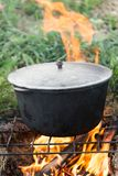 Cauldron on the fire on the nature Royalty Free Stock Images