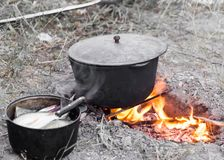 Cauldron on the fire on the nature Stock Photos