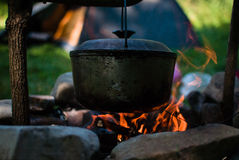 Cauldron on the fire Royalty Free Stock Images