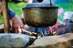 Cauldron on the fire Royalty Free Stock Image