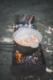 Cauldron with fish soup. On the grill Royalty Free Stock Photo