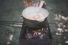 Cauldron with fish soup. On the grill Stock Images