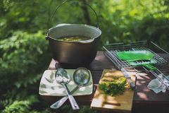 Cauldron with fish soup. On the table Stock Image