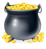 Cauldron full of gold coins Royalty Free Stock Photography
