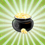 Cauldron with gold coins. Leprechaun Pot with gold coins on a striped background. St. Patricks Day symbol Royalty Free Illustration