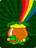 A cauldron with gold coins and hat. Vector illustration of a cauldron with gold coins and hat having rainbow on the shamrocks background for St. Patrick's Day Stock Illustration