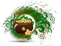 Cauldron with gold coins on the splash. Vector illustration of brown cauldron with gold coins and clover leaves on back of it with green orange splash Royalty Free Illustration