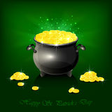 Cauldron with golden coins Royalty Free Stock Photos
