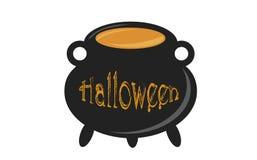 cauldron Großer Kessel mit Hexe ` s Trank für Halloween lizenzfreie stockfotos
