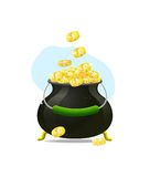 Cauldron icon witn gold coins Royalty Free Stock Images