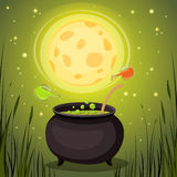 Cauldron with magical potion in a dark fores Royalty Free Stock Photos
