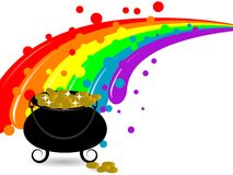 Cauldron with money. St.Patrick's cauldron, money and rainbow Royalty Free Illustration