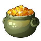 Cauldron with money isolated on white background Stock Photo