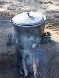 Cauldron on the nature Stock Photography
