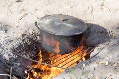 Cauldron on the nature Royalty Free Stock Photos