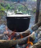 Cauldron on the open fire Royalty Free Stock Photos