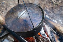 Cauldron on the open fire Stock Photo