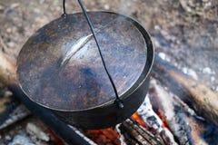 Cauldron on the open fire Stock Photo