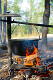 Cauldron over campfire Stock Photography