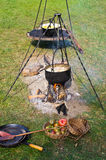 Cauldron over the fire Stock Photos