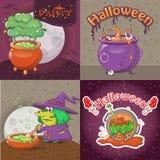 Cauldron pot banner concept set, cartoon style. Cauldron pot halloween banner concept set. Cartoon illustration of 4 cauldron pot halloween vector banner Royalty Free Stock Images