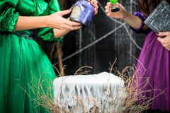 A cauldron of potions from which steam is pouring down on hallow. Een closeup Royalty Free Stock Image